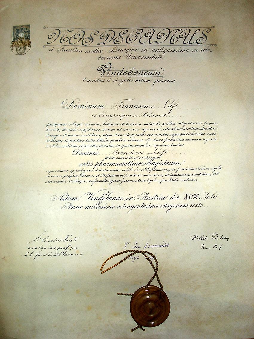 Sponsionsurkunde Franz Luft aus dem Jahr 1886. Sie trägt die drei Unterschriften von Größen der Chemie und Physik, die damals an der Universität Wien lehrten, unter anderem von Josef Loschmidt.